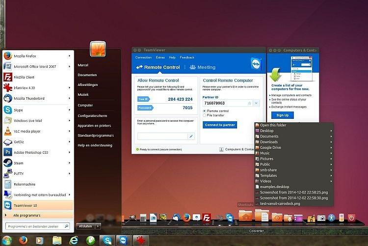 Teamviewer sessie vanuit Windows 7 Professional naar Ubuntu 14.04